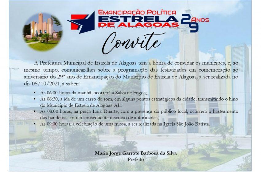Programação das comemorações pela Emancipação Política de Estrela de Alagoas